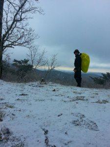 snow falling on blood mountain